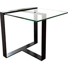Table basse courte design acier et verre...