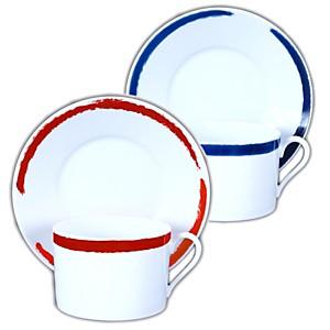 2 tasses déjeuner et soucoupes Porcelain