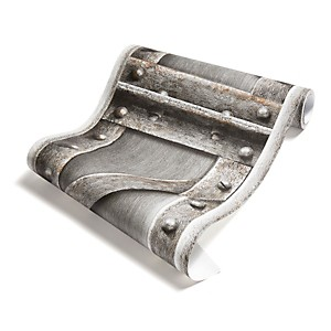 Papier Peint Poutre métallique à treillis acier brossé
