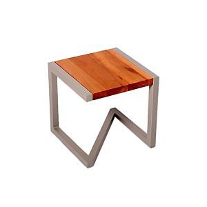 Tabouret design en bois et acier laqué t