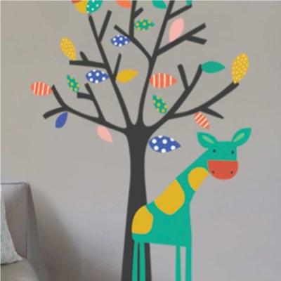 Sticker Arbre et girafe
