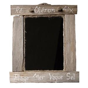 Petit miroir carré en bois flotté grisé