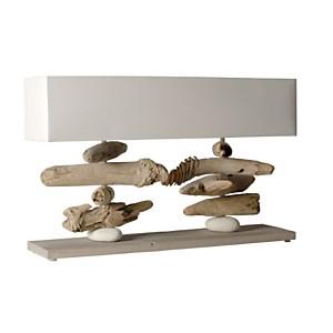 Grande lampe à poser en bois flotté Nao blanc