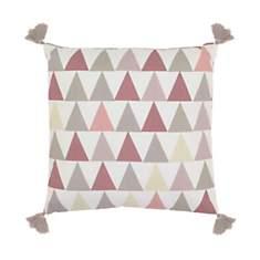 Coussin à pompons en coton Triangles