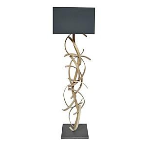 Lampadaire design en bois et abat jour gris Charlotte