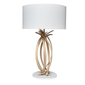 Lampe de table design en bois et abat jo