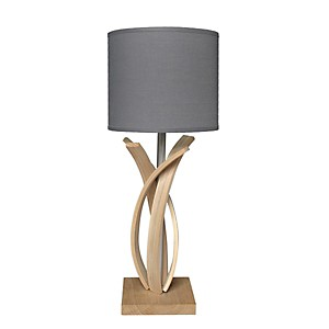 Lampe de table design en bois et abat jour gris anthracite Alice