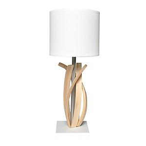 Lampe de table design en bois et abat jour blanc Alice