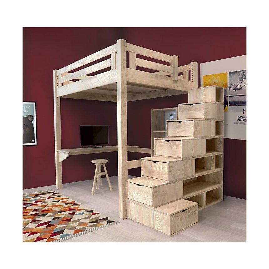 Lit Mezzanine Alpage bois + escalier cube hauteur réglable