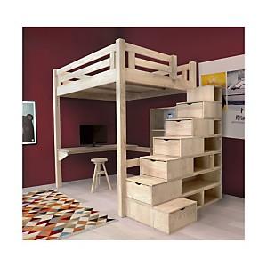 Lit Mezzanine Alpage bois + escalier cub