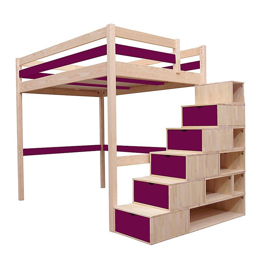 lit mezzanine sylvia avec escalier cube bois. Black Bedroom Furniture Sets. Home Design Ideas