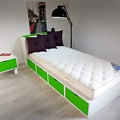 Lit 90 x 200 cm Cube blanc Tiroirs coule