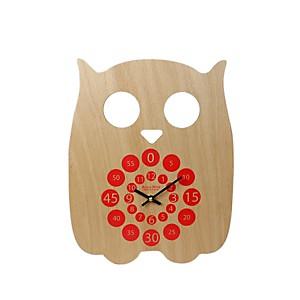Horloge pédagogique Hiboo rouge orangé