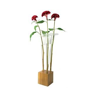 Set de trois vases et socle carré TRIO T