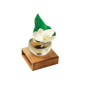Vase en verre transparent support bambou
