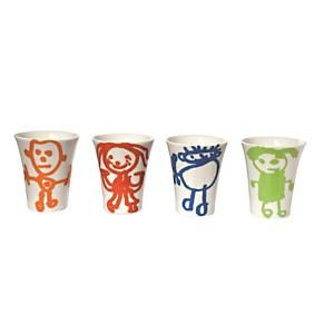 Set de 4 mugs multicolores Les bonhommes