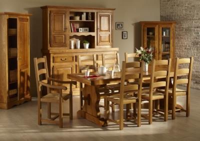 Ensemble Table monastère La Bresse + 6 chaises en bois
