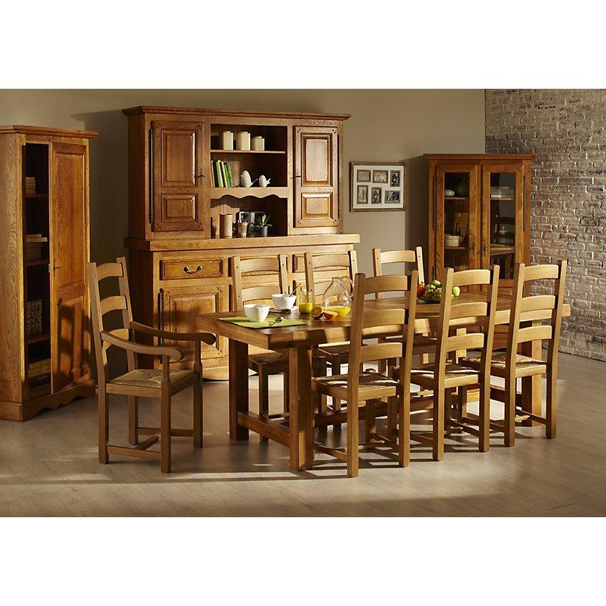 Ensemble Table de Ferme en chene massif + 6 chaises LA BRESSE