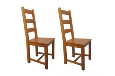 Lot de 2 Chaises en chêne La BRESSE - Assise bois