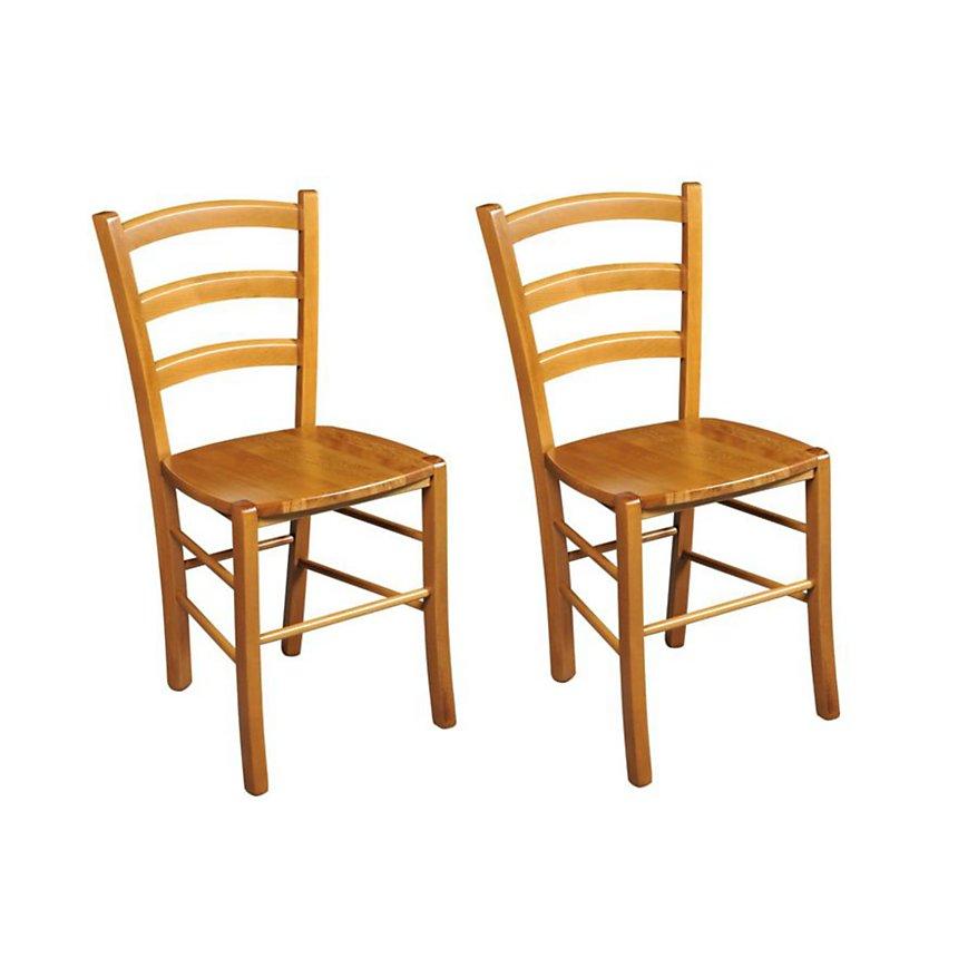 Lot de 2 Chaises bois massif TINA assise bois