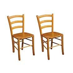 Lot de 2 Chaises bois massif TINA assise