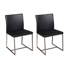 Lot de 2 Chaises en cuir et alu OTTO