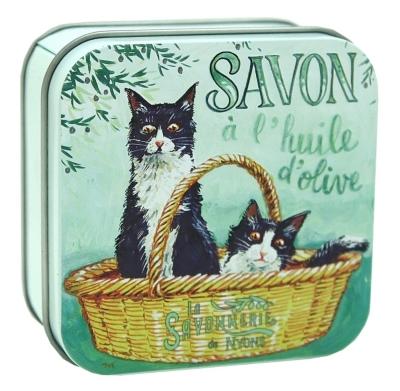 Savon Fleur de Coton 100 g et Boite Métal Chat Noir et Blanc