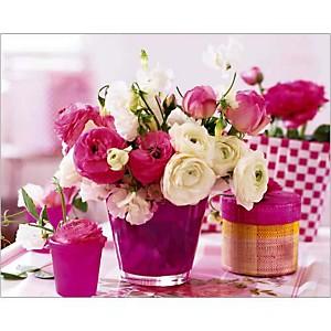 Table en rose, FLORA PRESS, affiche 24x30 cm