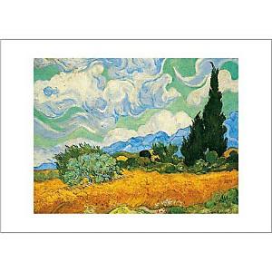 Champ de blé avec cyprès, Vincent VAN GOGH, affiche 50x70 cm