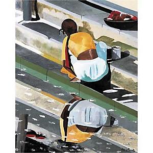 Le lavoir en Inde, Anne DU PLANTY, affiche 40x50 cm