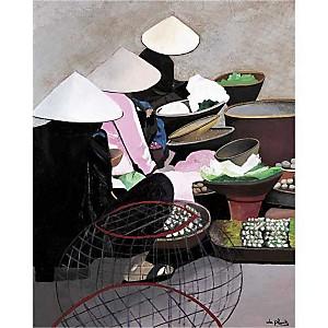 Le marché vietnamien, Anne DU PLANTY, affiche 40x50 cm