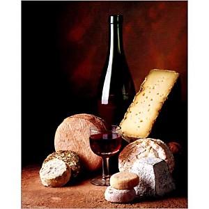 Fromages et vin rouge,  Corinne RYMAN, Pierre CABANNES, affiche 40x50 cm