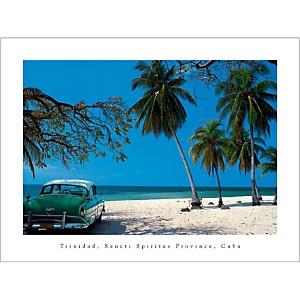 Vieille voiture sur la plage, Trinidad, Ron WHITBY, affiche 30x40 cm