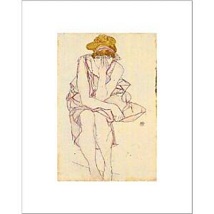 Jeune fille assise, Egon SCHIELE (1890-1918), affiche 40x50 cm