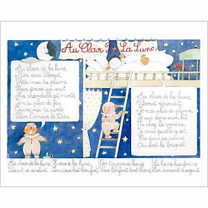 Au clair de la lune , Monique TOUVAY, affiche 24x30 cm