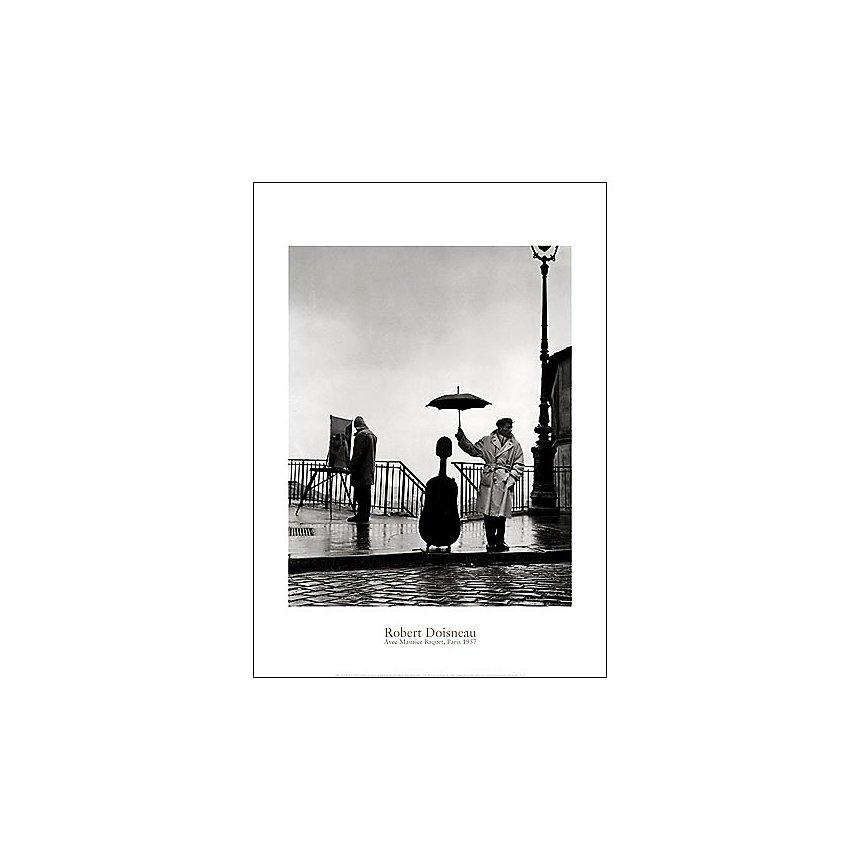 Un musicien sous la pluie, Maurice Baquet, Paris, 1957, Robert DOISNEAU (1912-1994), affiche 50x70 cm