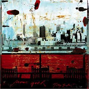 New York, vue sur Brooklyn,Tony SOULIE, affiche 70x70 cm