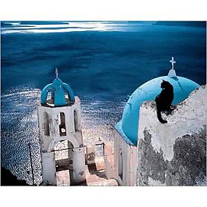 Chat en Grèce, Hans SILVESTER, affiche 24x30 cm
