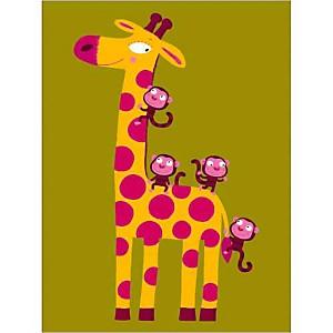 La girafe et les singes, Nathalie CHOUX, affiche 30x40 cm