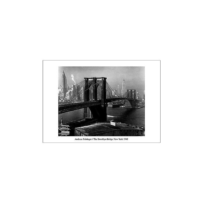 Le pont de Brooklyn vu de Brooklyn, New York, 1948, Andreas FEININGER (1906-1999), affiche 70x100 cm