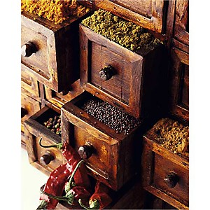 Epices en tiroirs, Philip WILKINS, affiche 40x50 cm
