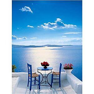 Thira, table et chaises, Santorin, Georges MEIS, affiche 30x40 cm