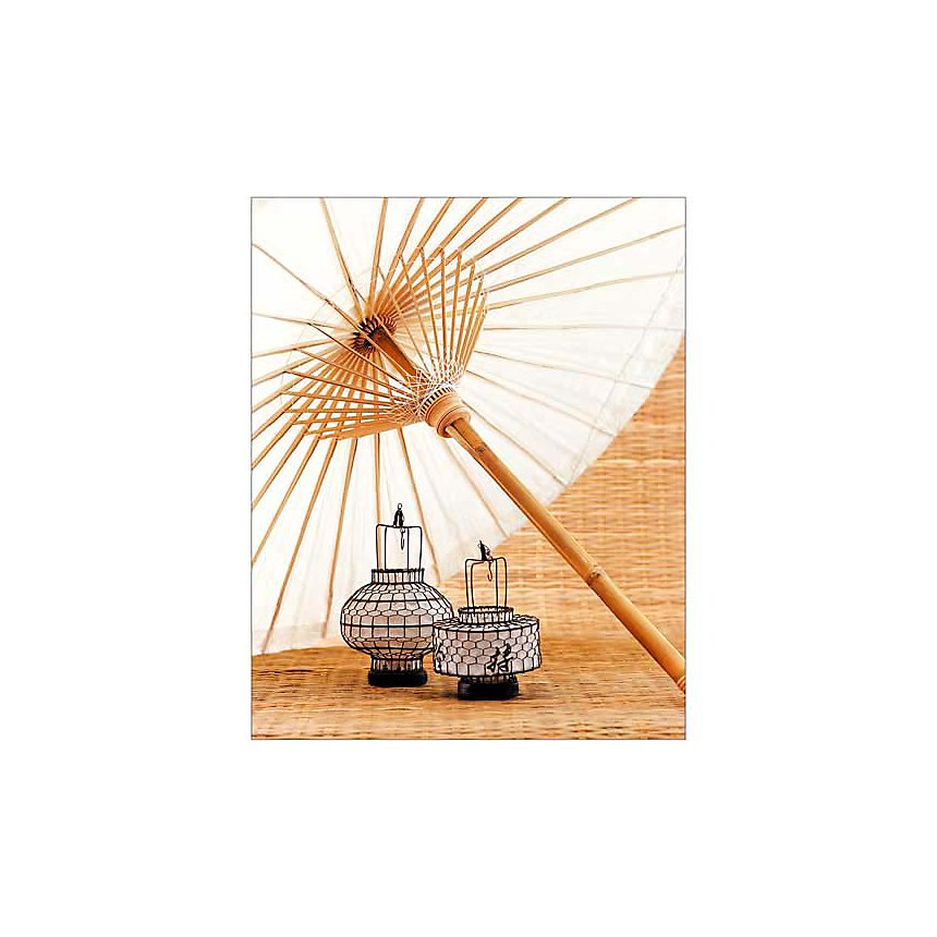Lampions et ombrelle, Sabrina ROTHE, affiche 24x30 cm