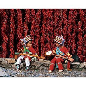 Enfants de l'ethnie Yi, Yunnan, Chine, Pu ZHONGHUA, affiche 24x30 cm