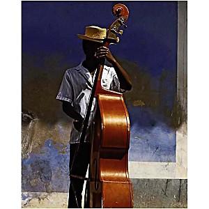 Joueur de contrebasse, Cuba, Angelo CAVALLI, affiche 24x30 cm