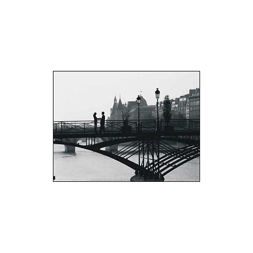 Couple sur un pont, Paris, France, Robert HARDING, affiche 30x40 cm