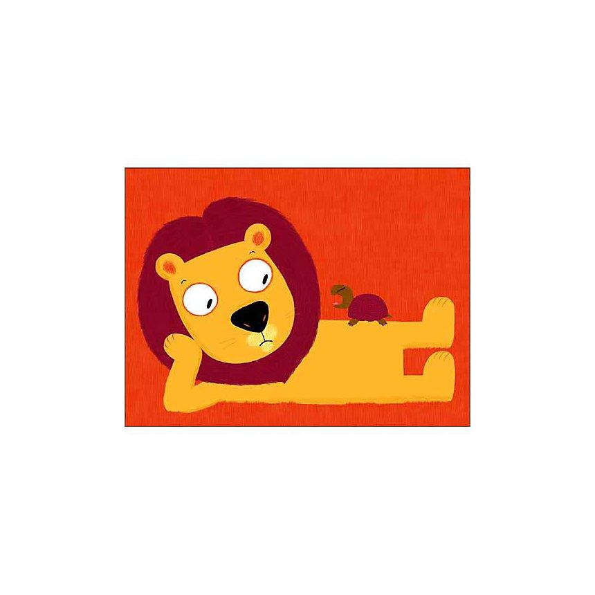 Le lion et la tortue, Nathalie CHOUX, affiche 30x40 cm
