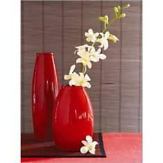 Orchidées dans vase rouge, KALLHOEFER, a...