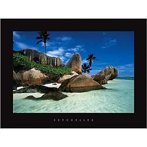 Anse Source d'Argent, La Digue, Seychelles, CORDIER, affiche 60x80 cm