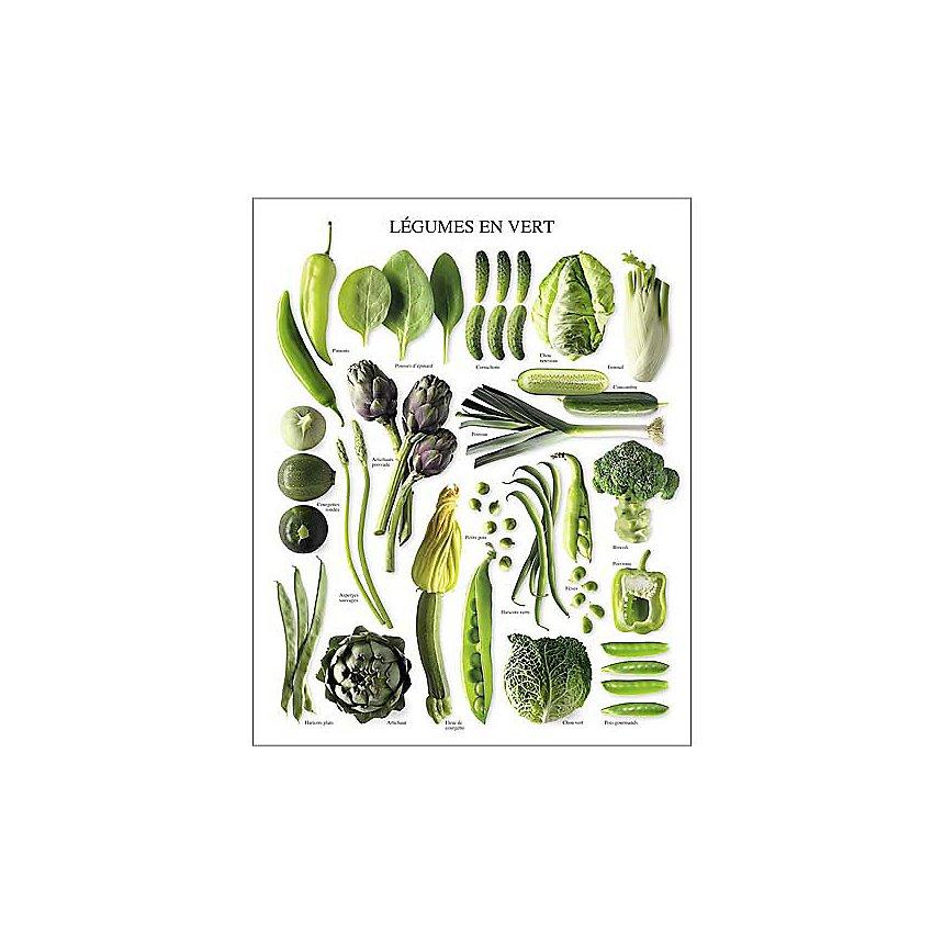 Légumes en vert, Atelier Nouvelles Images, affiche 24x30 cm